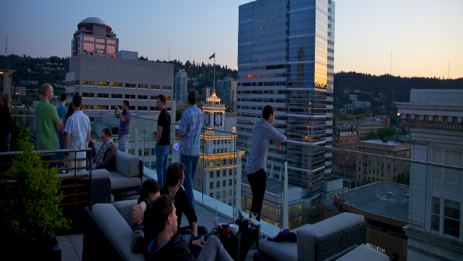 Enjoy the view from the Nines Rooftop Bar